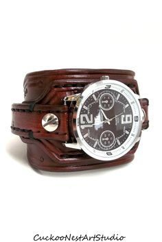 Men's watch Leather Wrist Watch Leather by CuckooNestArtStudio find that perfect wrist watch here today! Leather Cuffs, Leather Men, Cool Watches, Watches For Men, Classy Suits, Mens Watches Leather, Apple Watch Bands, Stylish Men, Tariq Aziz
