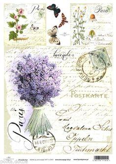 Soft Decoupage Paper Decopatch Sheet Vintage Lavender Script Paris Postmark