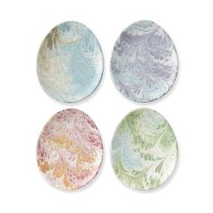 Florentine Egg Plates, Set of 4 ($35) found on Polyvore featuring home, kitchen & dining, dinnerware, pastel dinnerware, easter salad plates, easter egg plate, dessert plates and easter dinnerware