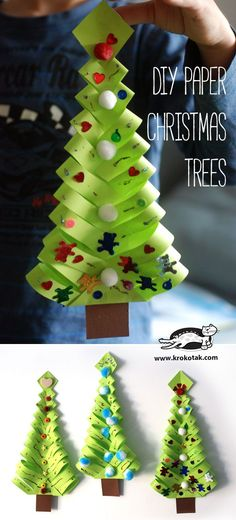 Ideas For Diy Paper Christmas Tree Navidad Diy Paper Christmas Tree, Noel Christmas, Christmas Crafts For Kids, Christmas Activities, Simple Christmas, Christmas Projects, Holiday Crafts, Christmas Gifts, Christmas Decorations