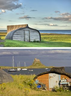 These fishing sheds are made of old herring boats and have been a tradition since 1908 in Lindisfarne.