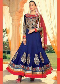Blue Georgette Abaya Style Salwar Kameez Online Shopping : 299SL02