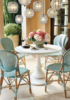 Create the allure of a French café with our charming and comfortable Paris Bistro Collection. These colorful chairs derive their authentic look from strong bent rattan frame and a neatly handwoven, all-weather seat and back. Adirondack Furniture, Best Outdoor Furniture, Garden Furniture, Furniture Design, Furniture Nyc, Furniture Movers, Retro Furniture, Furniture Outlet, Adirondack Chairs