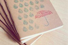 Raindrops and brolly : Handprinted & handmade notebook