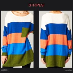 "STRIPED OVERSIZE SWEATER This long sleeve sweater has color blocked stripes and a loose fit. 15% angora, 30% wool, 55% nylon. Very cute and comfy! NWOT                         ♦️Small: bust 42"" tla2 Sweaters"
