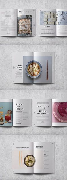 editorial layout Cookbook / Recipe Book FEATURES Indesign Document 2 Sizes: and US Letter Size 2 Sizes: .indd for CC, .idml for Template Brochure, Indesign Templates, Layout Template, Adobe Indesign, Brochure Layout, Brochure Food, Brochure Trifold, Recipe Book Templates, Cookbook Template