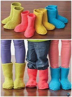Crochet Bernat Slipper Boots Free Pattern-Crochet Ankle High Baby Booties Free Patterns