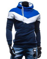 Slimming Trendy Hooded Personality Color Splicing Long Sleeves Thicken Hoodies For Men (CADETBLUE,M) | Sammydress.com Mobile