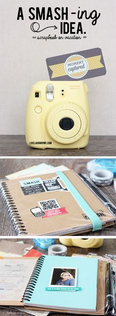 BRILLIANT! Create a mini scrapbook while on vacation -- no need to wait till you get home!