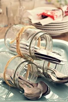 Decoration tip for the cutlery when you go out and . - # if Decoratie tip voor het bestek als je buiten gaat e… – Decoration tip for the cutlery when you go out and … – # cutlery going - tisch Deco Buffet, Dining Buffet, Deco Champetre, Wedding Decorations, Table Decorations, Garden Party Decorations, Centerpieces, Tablescapes, Party Planning