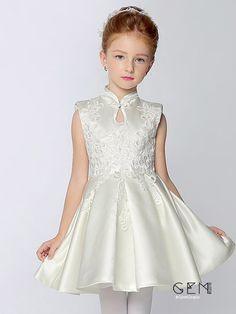 High Collar A Line Short Satin Pageant Dress with Lace Girls Pageant Dresses, Girls Party Dress, Little Girl Dresses, Prom Dresses, Bridesmaid Dresses, Wedding Dresses, Baby Dress Design, Baby Girl Dress Patterns, Frocks For Girls