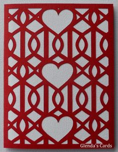 handmade Valentine card from Glenda's Cards ... grillwork styled coverplate ... cut with Cricut ...