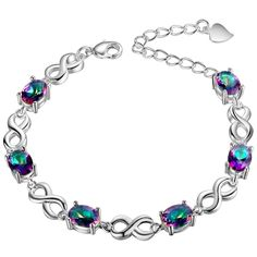 Oval Rainbow Mystic Topaz  Silver Plated Bracelet