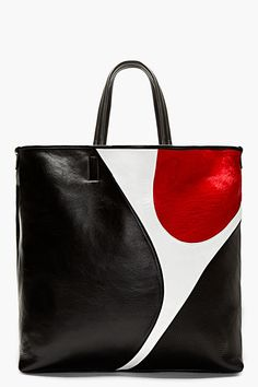 NEIL BARRETT Black Leather & Calf-hair Colorblocked tote