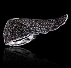 Wing Ring   Garrard black diamonds (or white)