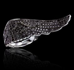 black diamonds and white gold ring Wings Collections Garrard