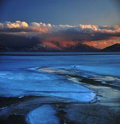 melting ice february 2014 utah lake