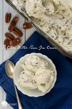 No-Churn Butter Pecan Ice Cream (2c h.cream,14oz sweetened condensed milk,2tsp vanilla bean paste or extract, 8oz chopped pecans b as led then mix in 3tbsp butter,1/2tsp flaked sea salt)