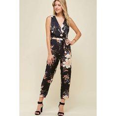 Satin Floral V-Neck Jumpsuit Belt Tying, Absolutely Gorgeous, Hemline, Jumpsuit, Satin, V Neck, Plus Size, Style Inspiration, Floral