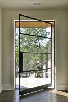 How to Choose Sliding Doors Exterior for Minimalist House Design Front Door With Screen, Modern Front Door, Front Door Entrance, House Front Door, Front Door Design, Glass Front Door, Window Design, Front Doors, Modern Windows And Doors