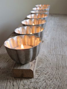 Upcycled Jello Mold Tea Light Holder or Organizer. I've got some of these.