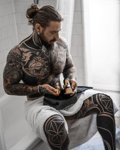Getting ready for another year of this amazing journey! Thanks for keeping my whole body groomed throughout this year. Tattoo Girls, Girl Tattoos, Tattoos For Guys, Tatoos, Full Body Tattoo, Body Art Tattoos, Tattoo Life, Sexy Tattooed Men, Bearded Tattooed Men