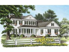 """""""Sunrise Farm"""" Greek Revival New Traditional plan by William E. Poole."""