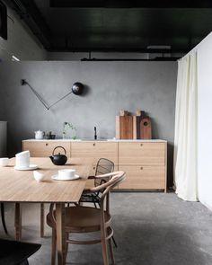 Ply kitchen my scandinavian home: Workspace inspiration: Norwegian design studio Ask og Eng. Ikea Kitchen Design, Ikea Kitchen Cabinets, Kitchen Interior, Kitchen Ideas, Green Cabinets, Kitchen Tables, Apartment Interior, Kitchen Colors, Kitchen Dining