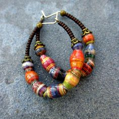 Beaded Hoop Earrings with Handmade Paper Beads by studioRenee