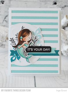 Stamps: BB Mermazing, Exquisite Ocean  Die-namics: BB Mermazing, Exquisite Ocean, Striped Sentiment Strip Cover-Up, Stitched Arch STAX, Essential Fishtail Sentiment Strips    Inge Groot  #mftstamps