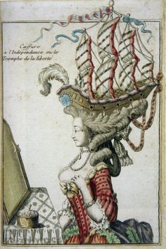 """18th Century Fashion Plate featuring la pouf in Caroline Weber's """"Queen of Fashion: What Marie Antoinette Wore to the Revolution"""""""