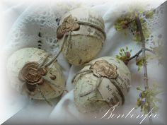 Ostereier - ~*~ Drei Vintage Ostereier für Ostern~*~ - ein Designerstück von Bonbonfee bei DaWanda