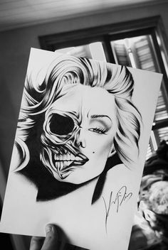 skull marilyn monroe tattoo stencil - Google Search