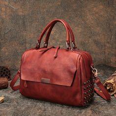 a30a32dbca90 Women s Boston Handbag Handmade Genuine Leather Top-Handle Lady Shoulder Bag  2018 Portable Messenger Bag Female Box Handbag