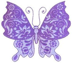 Decorative Floral Butterfly 7 (7-B) Embroidery Design by Lynzie's Embroidery