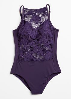 Look chic and beautiful in the high neck Cristobel one piece swimsuit. The mesh net and floral crochet at the high neck, midriff and back of this gorgeous suit make it sexy without being overly revealing. From Amoressa By Miraclesuit. Free Shipping and Returns on full-priced swim orders placed in the U.S.