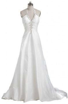 GEORGE DESIGN 2014 New Sexy Halter V-Neck Ruched Taffeta Bridal Gown Size 8 Ivory - http://www.immmb.com/women-clothing/george-design-2014-new-sexy-halter-v-neck-ruched-taffeta-bridal-gown-size-8-ivory.html/