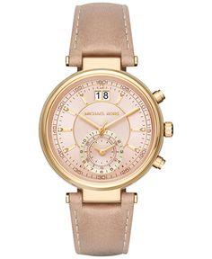 Michael Kors Women's Chronograph Sawyer Peanut Leather Strap Watch 39mm MK2529