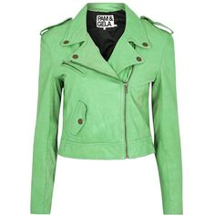 Pam & Gela Mint Leather Biker Jacket (24,985 INR) ❤ liked on Polyvore featuring outerwear, jackets, coats, green, tops, green cropped jacket, leather jackets, real leather jackets, green jacket and leather motorcycle jacket