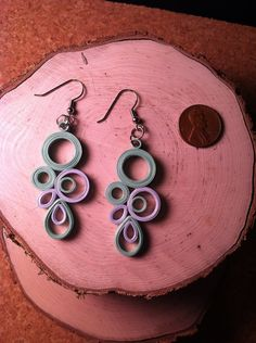Rain Drop Quilled Earrings - Teal Gray.