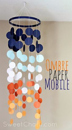 Ombre Paper Mobile DIY Tutorial- I love these colors! Visit www.tidalwalk.com today to choose your next #DreamHome! A uniquely Southern #Gated Community, with homes priced from the mid-$300's! Luxurious resort-style amenities, including a pool, private beach, private island, private dock/boat slips with convenient access to the #NC Intracoastal Waterway, Atlantic Ocean and the Cape Fear River in historic #Wilmington!