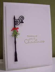 MONDAY, DECEMBER 10, 2012    Thinking of you at Christmas |    Stamps:  Beautiful Season (SU!)  Paper:  White (Neenah); Basic Black, Old Olive (SU!)  Ink:  Old Olive  Accessories & Tools:  Big Shot, Antique Lamp Post die (Poppy Stamps), Pine branch punch (McGill), green glitter glue, red embroidery floss, Stamp-a-ma-jig, emery board, glue, and glue dots