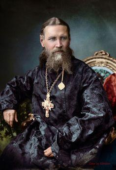 Colorized photo. Saint John Of Kronstadt
