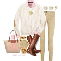 """""""Elbow Patches and Pink Oxfords."""" by xipiamin on Polyvore"""