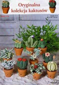 A whole list of patterns from a magazine :) Just list backwards to see the patterns. These cactuses are patterns number 41-50.