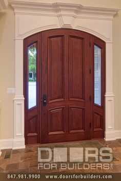 Wood Front Entry Doors in-Stock. 4 Panel Solid Door With Clear Glass Sidelights with Bevel, Pre-hung, Prefinished