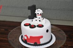 Firetruck and dalmatian themed cake for 1st birthday.