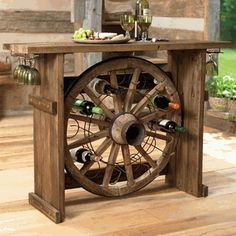 Wagon Wheel Wine Rack. Cool!
