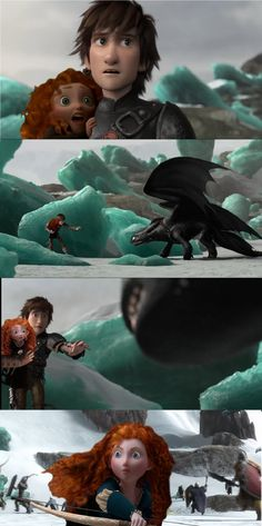 Clary: Daddy! Hiccup: Toothless, please! I know you. you wouldn't hurt her! Merida: Hiccup! Clary!
