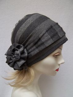 Slouch Hat Gray Silver Metallic Stripe Rayon Knit w Hair Wrap and Pin Chemo Cap Slouchie Beanie Scrub Cap Head Covering: